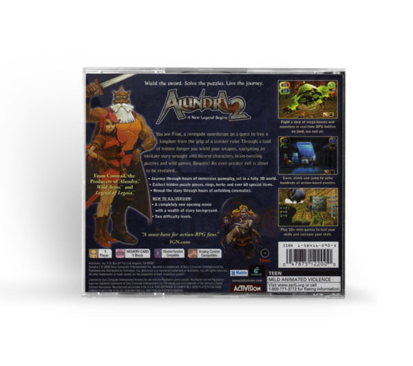 Sony PlayStation 1 PSX Alundra 2: A New Legend Begins NTSC-U (USA) back